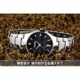 Nary Jam Tangan Analog Strap Stainless Steel - 6112 - Silver Black - 9