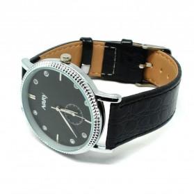 Nary Jam Tangan Analog Strap Kulit - 9003 - Black/Silver