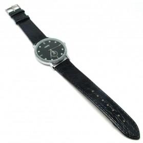 Nary Jam Tangan Analog Strap Kulit - 9003 - Black/Silver - 2