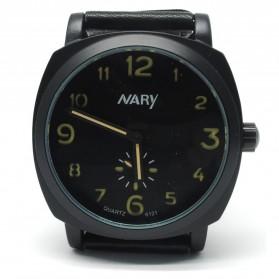 Nary Jam Tangan Analog Strap Kulit - 6121 - Black/Yellow - 2