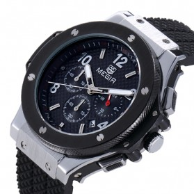 MEGIR Jam Tangan Analog - MN3002GBK - Black/Silver - 2