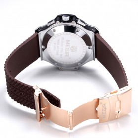MEGIR Jam Tangan Analog - MN3002GBK - Brown/Silver - 3
