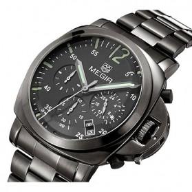 MEGIR Jam Tangan Analog - MS3006G - Black - 2