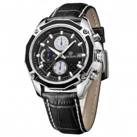MEGIR Jam Tangan Analog - ML2015GBN - Black/Black - 2