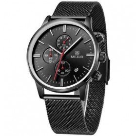 MEGIR Mesh Chrono Jam Tangan Analog - MS2011G - Black - 2