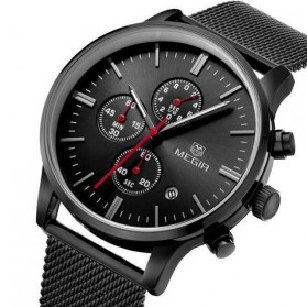 MEGIR Mesh Chrono Jam Tangan Analog - MS2011G - Black - 3