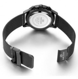 MEGIR Mesh Chrono Jam Tangan Analog - MS2011G - Black - 4