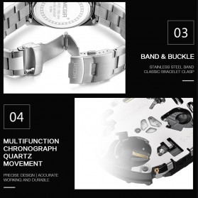 MEGIR Jam Tangan Analog Pria - 2064 - White/Silver - 8