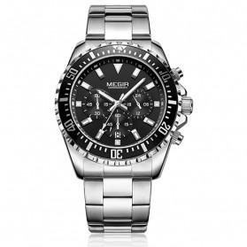 MEGIR Jam Tangan Analog Pria - 2064 - Silver Black