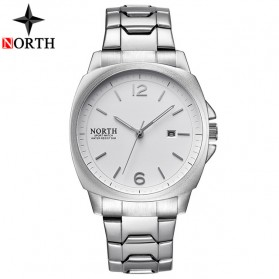 NORTH Jam Tangan Analog Kasual Stainless Steel - 7702 - White/Silver - 1
