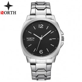NORTH Jam Tangan Analog Kasual Stainless Steel - 7702 - Silver Black