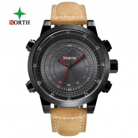 NORTH Jam Tangan Analog Kasual Leather Strap - 7716 - Black