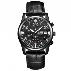NORTH Jam Tangan Analog Kasual Leather Strap - 7718 - Black
