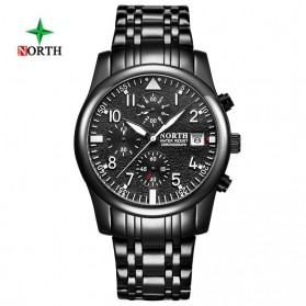 NORTH Jam Tangan Analog Kasual Stainless Steel - 7718 - Black