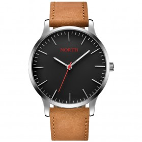 NORTH Jam Tangan Analog Kasual Leather Strap - 7719 - Brown/Black