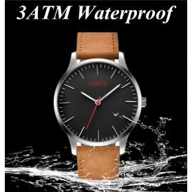 NORTH Jam Tangan Analog Kasual Leather Strap - 7719 - Brown/Black - 5