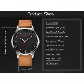 NORTH Jam Tangan Analog Kasual Leather Strap - 7719 - Brown/Black - 6