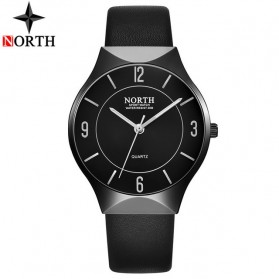 NORTH Jam Tangan Analog Kasual Strap Kulit - 7701 - Black
