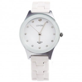Longbo Jam Tangan Pria Luxury Ceramic - 8631 - White