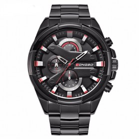 Longbo Jam Tangan Pria Sport Waterproof - 80242-B02 - Black/Red