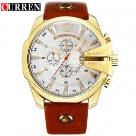Curren Watch Jam Tangan Analog Pria - mk52 - White/Gold