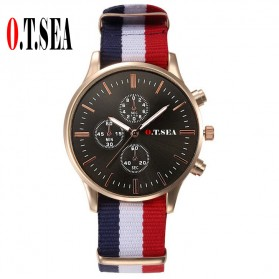 Trend Fashion Pria Terbaru - O.T.Sea Jam Tangan Kasual Pria Strap Nylon - 9884 - Black