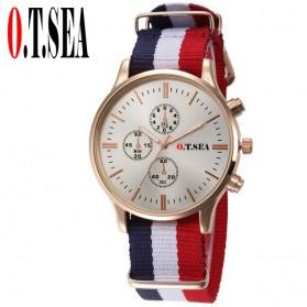 Trend Fashion Pria Terbaru - O.T.Sea Jam Tangan Kasual Pria Strap Nylon - 9884 - White