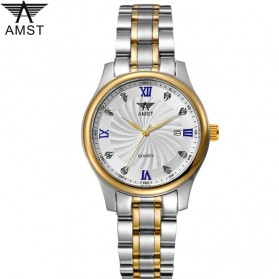 AMST Jam Tangan Analog Pria Stainless Steel - AM2001 - Silver/Gold