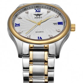 AMST Jam Tangan Analog Pria Stainless Steel - AM2001 - Silver/Gold - 3