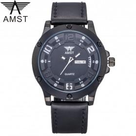 Jam Tangan Pria Keren Terbaru - AMST Jam Tangan Analog Kulit Pria - AM3024 - Black/Black