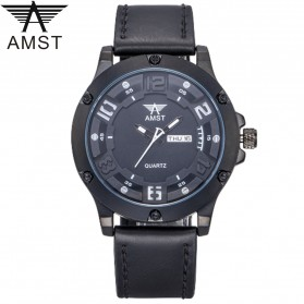 AMST Jam Tangan Analog Kulit Pria - AM3024 - Black/Black