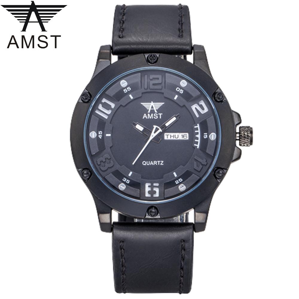 AMST Jam Tangan Analog Kulit Pria - AM3024 - Black Black 38da9489ba