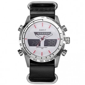 AMST Jam Tangan Kulit Analog Digital Pria - AM3023 - Black White