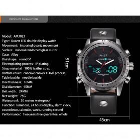 AMST Jam Tangan Kulit Analog Digital Pria - AM3023 - Black White - 6