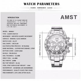 AMST Jam Tangan Chronograph Analog Pria - AM3021 - White/Silver - 4