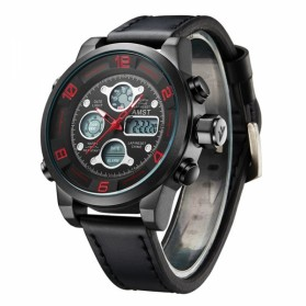 AMST Jam Tangan Analog Kulit Pria - AM3020 - Black/Red