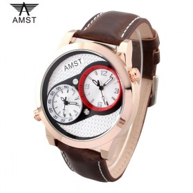 AMST Jam Tangan Analog Kulit Pria - AM3012 - Golden - 1