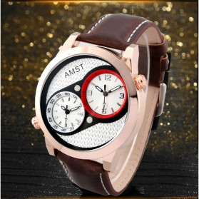 AMST Jam Tangan Analog Kulit Pria - AM3012 - Golden - 2