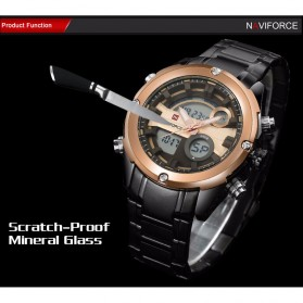 Navi Force Jam Tangan Analog Digital Pria - 9088 - Black Gold - 8