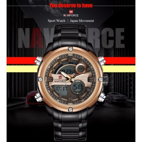 Navi Force Jam Tangan Analog Digital Pria - 9088 - Black Gold - 9