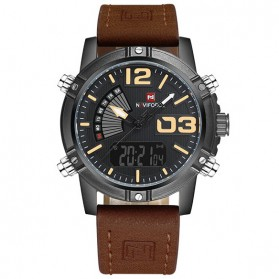 Navi Force Jam Tangan Analog Digital Pria - 9095 - Black/Brown