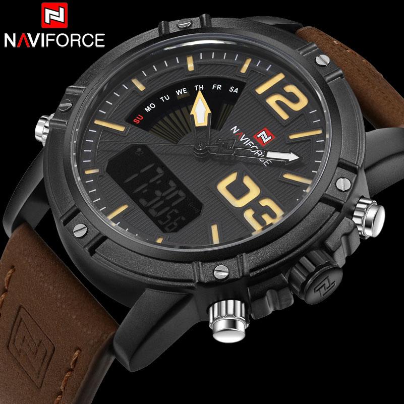 Jam Tangan Pria Naviforce 9095 navi jam tangan analog digital pria 9095 black