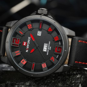 Navi Force Jam Tangan Analog Pria - 9061 - Black/Red - 3