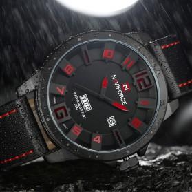 Navi Force Jam Tangan Analog Pria - 9061 - Black/Red - 4