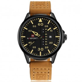 Navi Force Jam Tangan Analog Pria - 9074 - Black/Brown