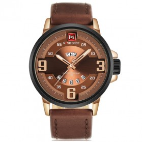 Navi Force Jam Tangan Analog Pria - 9086 - Brown/Gold