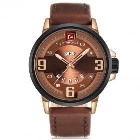 Navi Force Jam Tangan Analog Pria - 9086 - Brown/Gold - 1