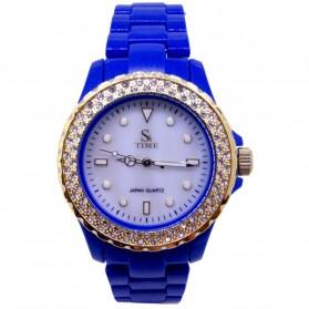 Trend Fashion Pria Terbaru - SK TIME Jam Tangan Analog Dial Rhinestone - SK08 - Blue