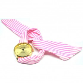 Girl Fashion Stylis Cloth Wrist Quartz Watch - Pink