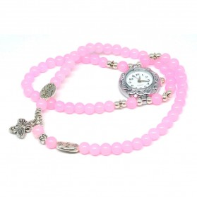 Girl Fashion Stylis Butterfly Bracelet Quartz Watch - Pink
